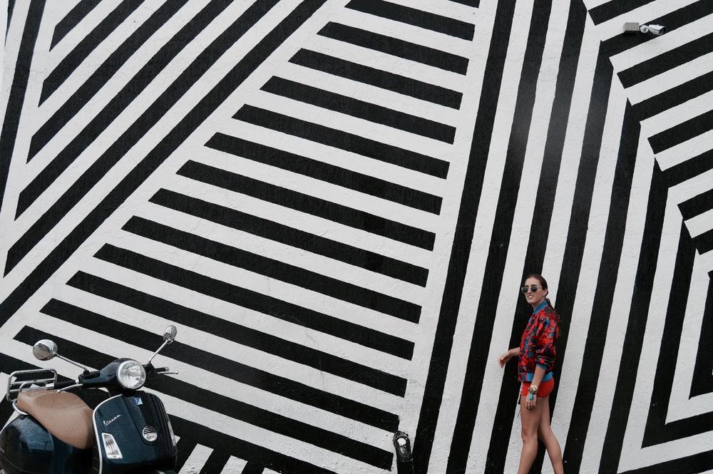 Shorts: Vintage  Chanel // Top: Topshop // Jacket: Vintage bought at  Melrose Trading Post // Shoes: Forever 21 // Necklace: Indie Republic Design  // Bag: Rebecca Minkoff