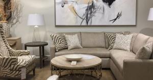 beige sofa and animal print - monochromatic color scheme