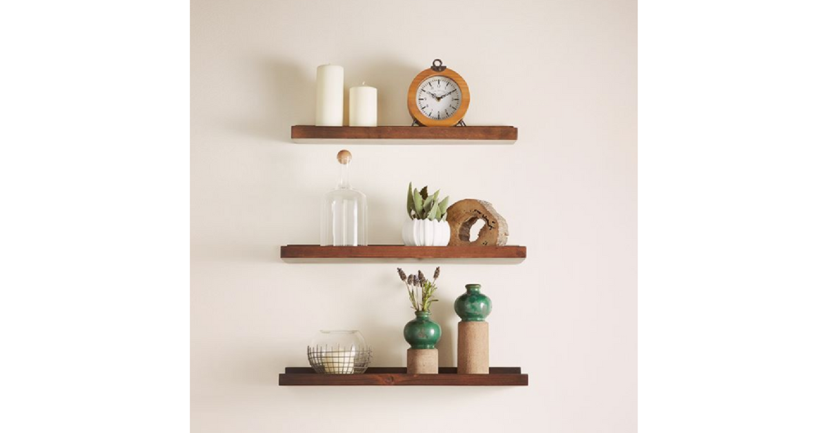 modern farmhouse design element - open shelving