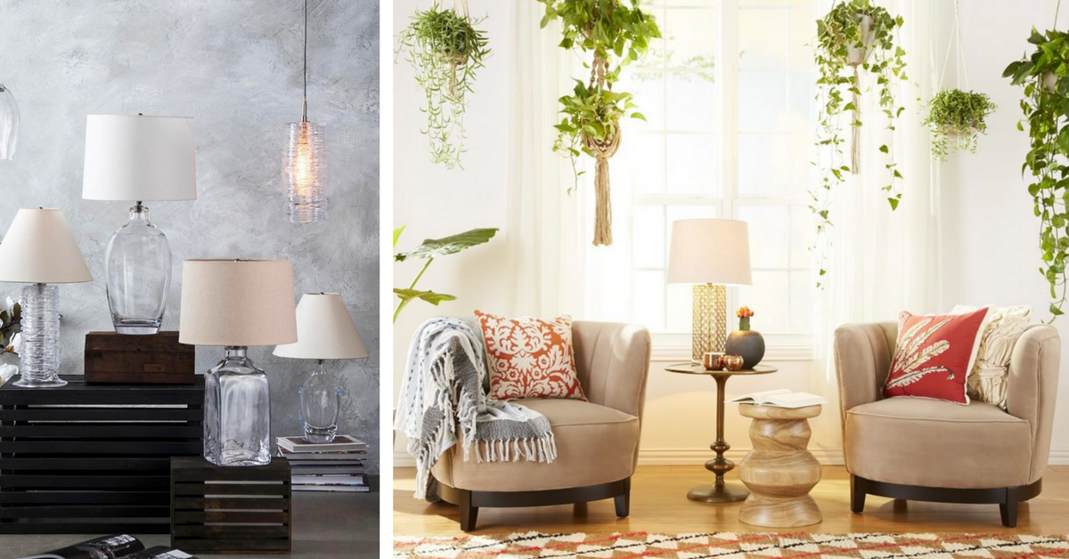 glassware lamps and warm room with hanging plants