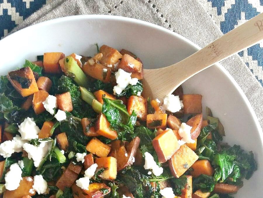 Sweet Potato Kale Salad, Photo Credit:  Dishing Out Health