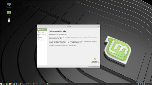 When you first start up Linux Mint, you are presented with a very helpful welcome screen.