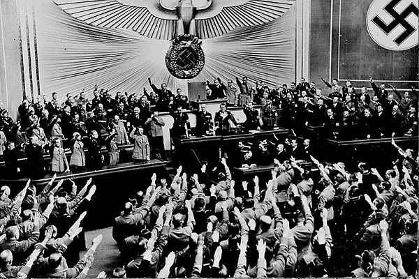 Hitler announcing the Annexation of Austria, Berlin, March 1938.  Photo courtesy of Wikipedia - This media is available in the holdings of the  National Archives and Records Administration , cataloged under the National Archives Identifier (NAID)   535792