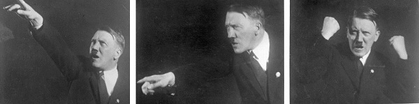 Photos of Hitler speaking by photographer Heinrich Hoffmann. Photos courtesy of Wikipedia and the  German Federal Archive  (Deutsches Bundesarchiv) as part of a  cooperation project .
