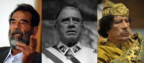 Former dictators Saddam Hussein of Iraq, Augusto Pinochet of Chili, and Muammar Gaddafi of Lybia.