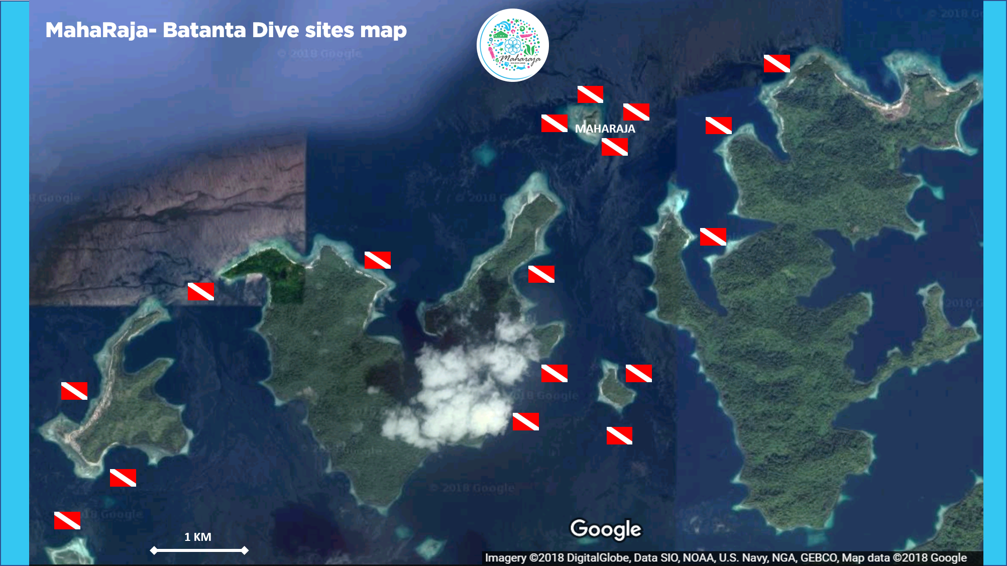 Diving in Raja Ampat with the MahaRaja Eco Dive Lodge - Batanta dive sites map