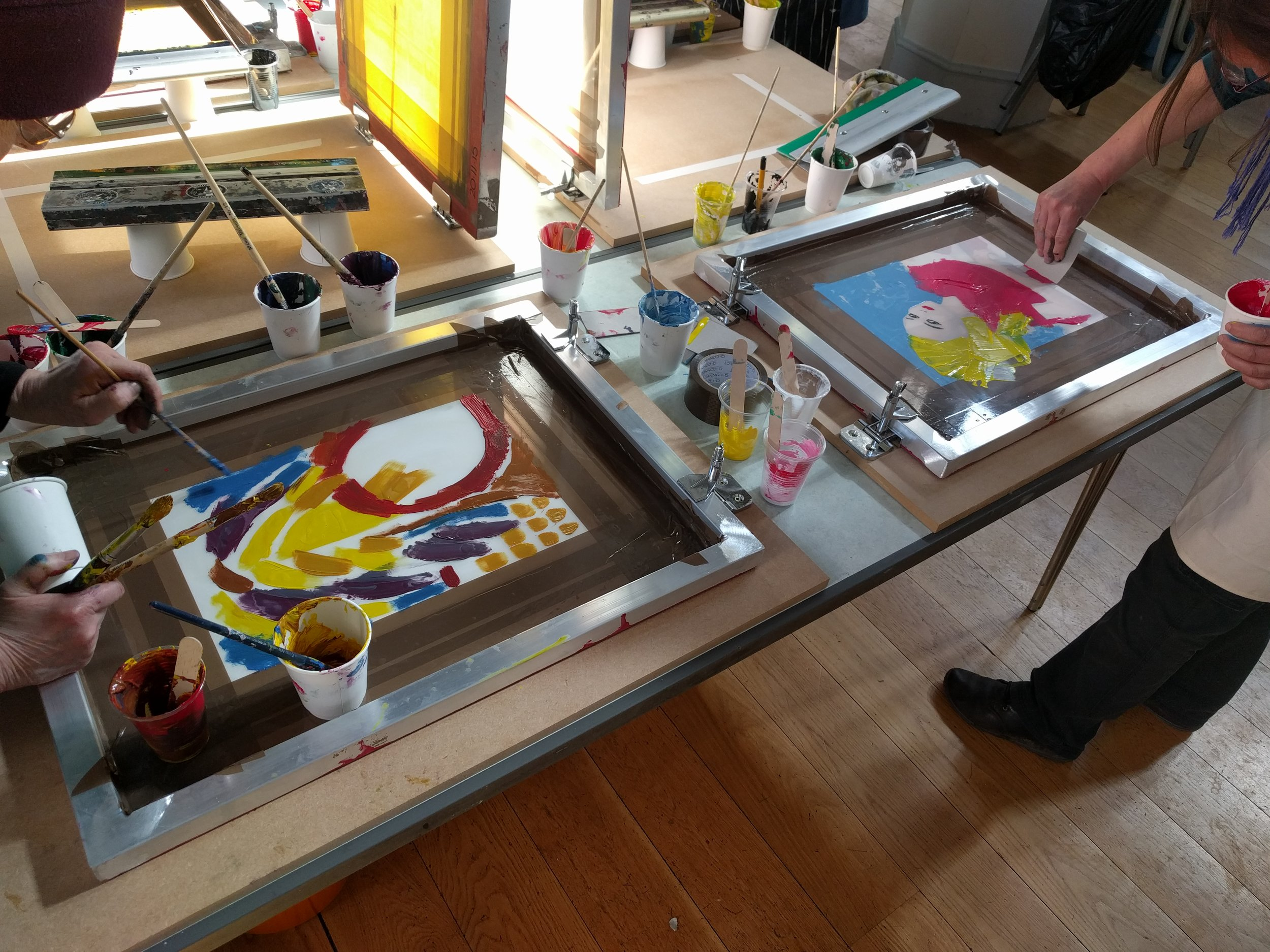 SATURDAY 21ST SEPTEMBER2.00 – 4.00PM - Experimental screen printing workshop with Off the press collective. This workshop is an introduction into the process or a refresher for those who would like to revisit it. We shall introduce the screen printing process and demonstrate a few printing methods. Under our guidance you will then have the opportunity to work with stencils, experiment with colours and blends. All materials are provided. You just need yourself and an apron. We always suggest bringing some reference material or having an idea of what you would like to print so you can get cracking.Off the Press are a printmaking collective based in Bury St Edmunds.Size : 10 participantsWorkshop Leaders: Sam, James and Anna.