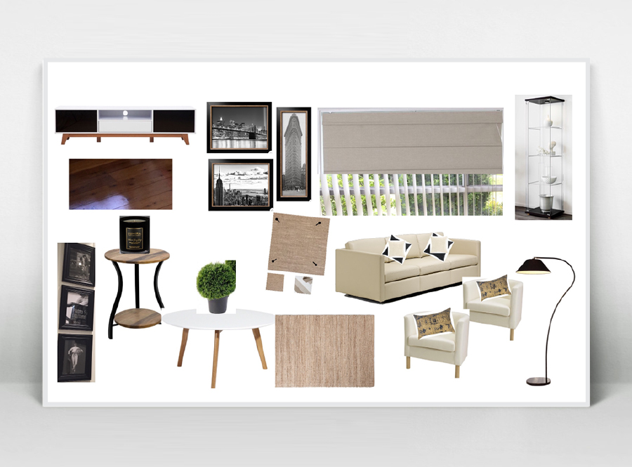 LIVING ROOM  Customer wishes: room organisation & style with focus on Vintage style, black & white, NYC photos, elegant & modern.