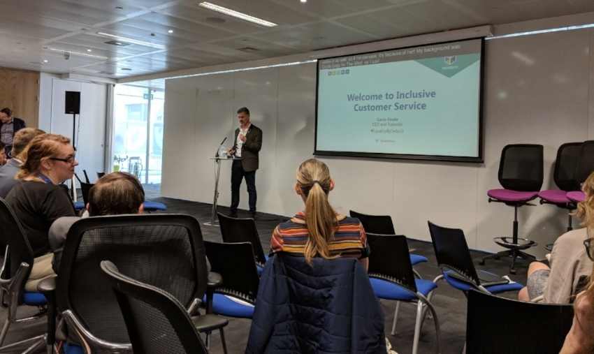 Our CEO, Gavin Neate, presenting our inclusive customer service solution, Welcome, at ATOS UK GAAD