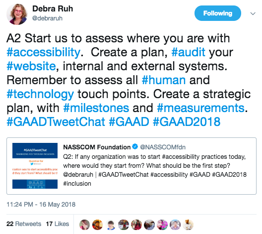 First, we must assess where you are with accessibility. Create a plan, audit your website, internal and external systems. Remember to assess all human and technological touch points. Create a strategic plan with milestones and measurements.