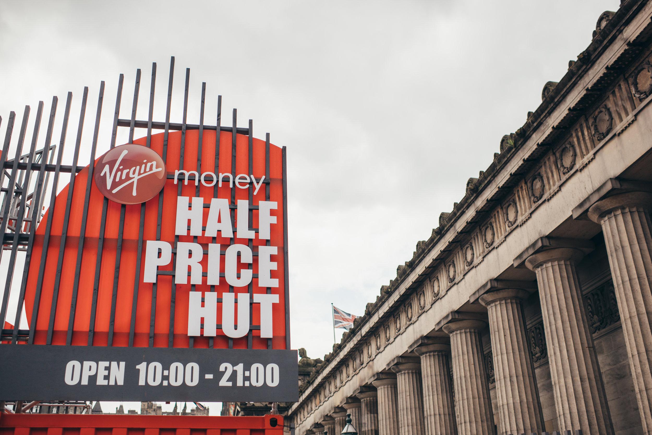 Entrance to Virgin Money Half Price Hut