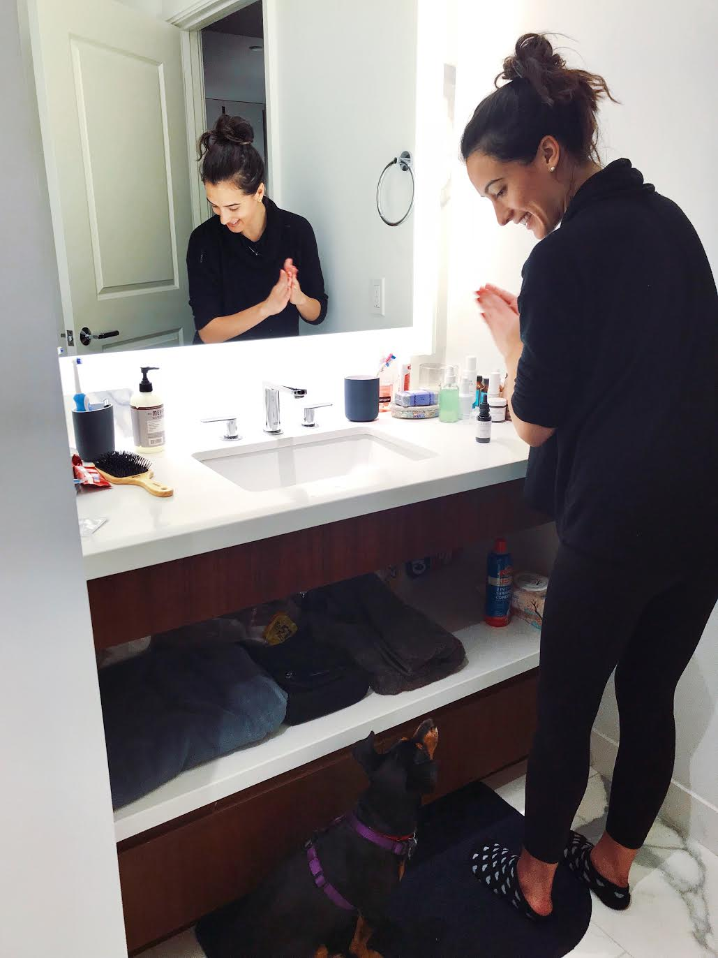 #SkinBabe Giuliana Cortese views skincare as an opportunity for relaxation, even with her puppy Leni!