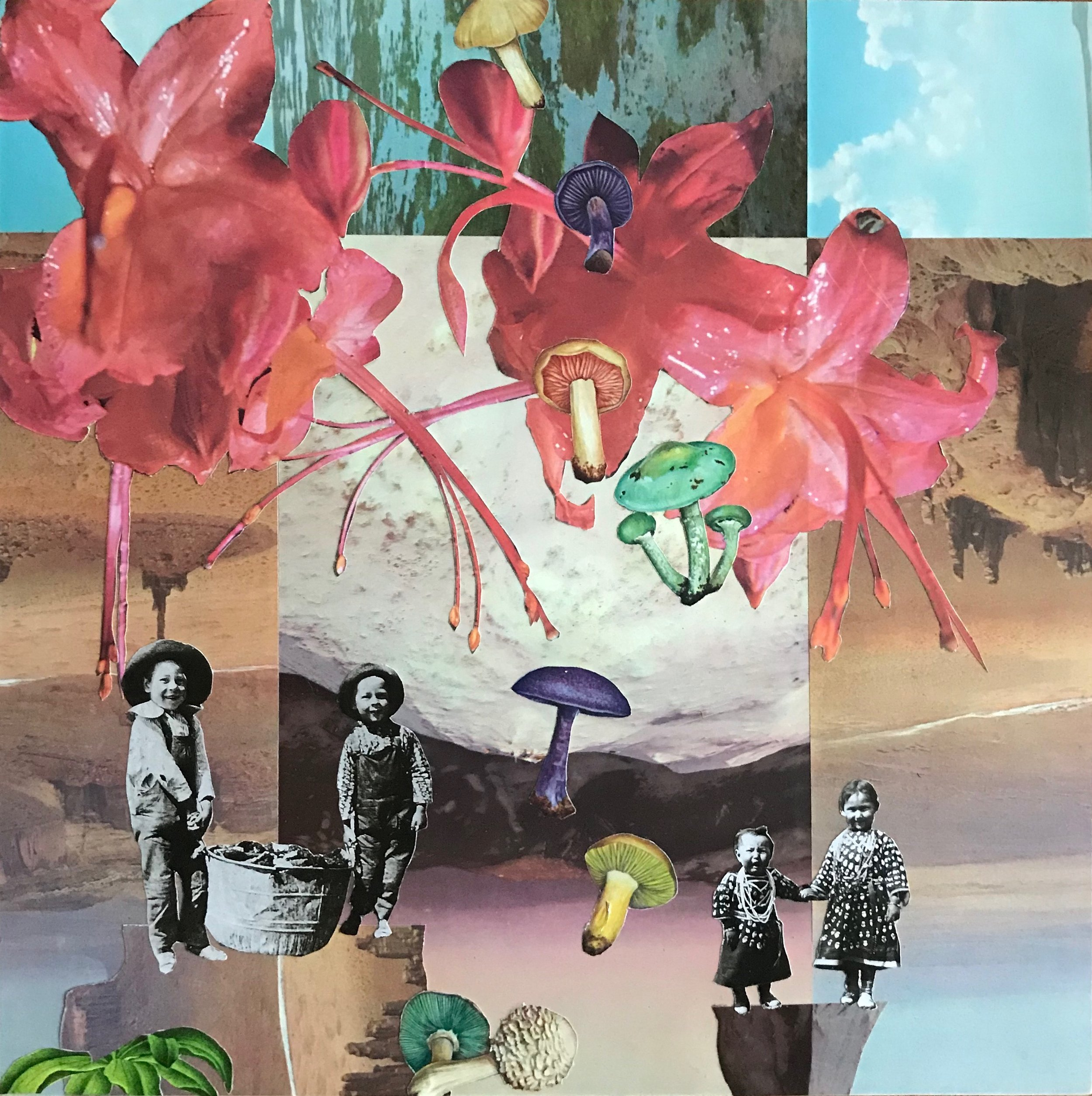 "Collage (Canopy) from  Baby Pictures  12'x 12"" (on wood) 2018"