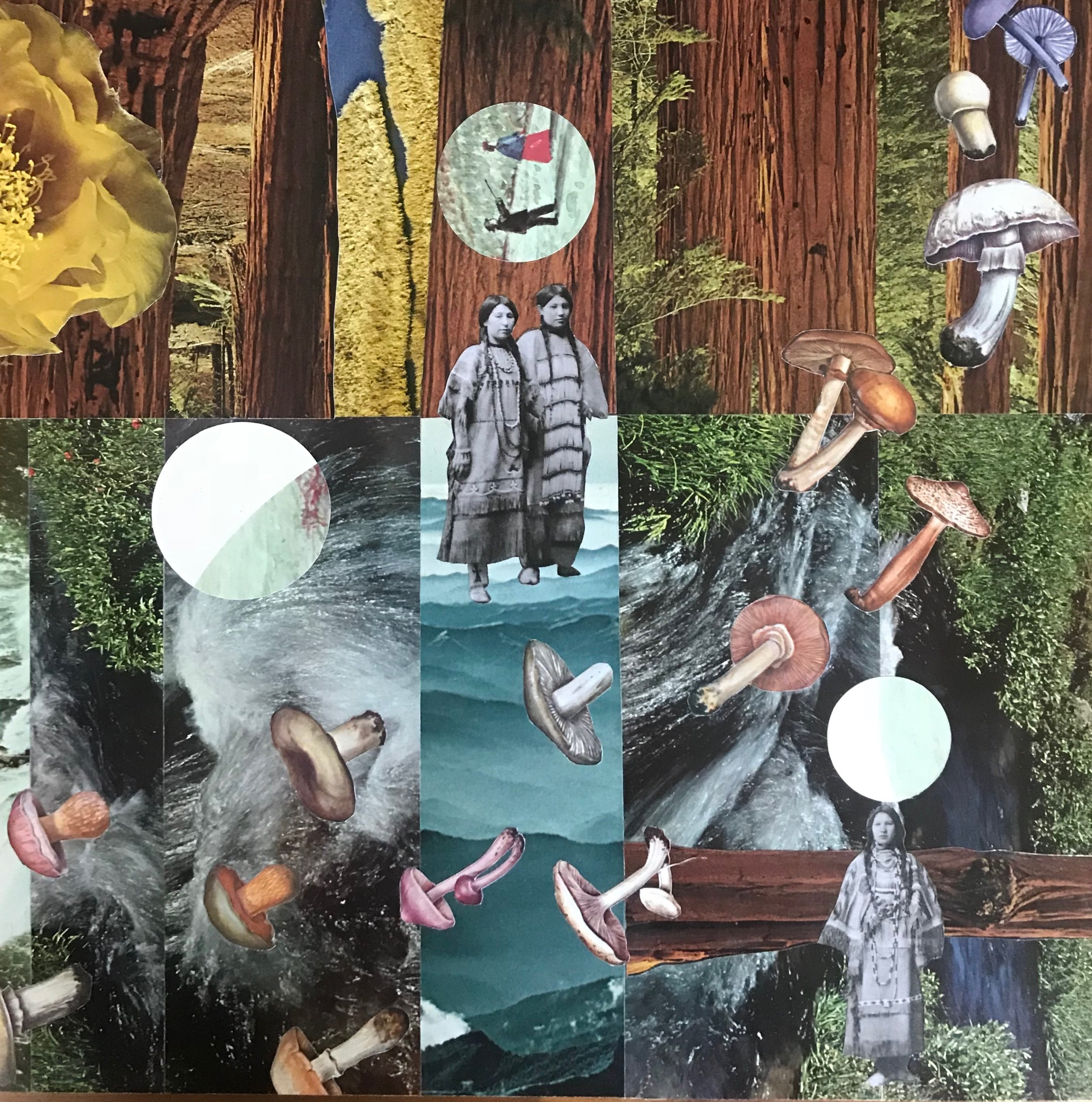 "Collage (Cascade) from  Baby Pictures  12""X 12"" (on wood) 2018"