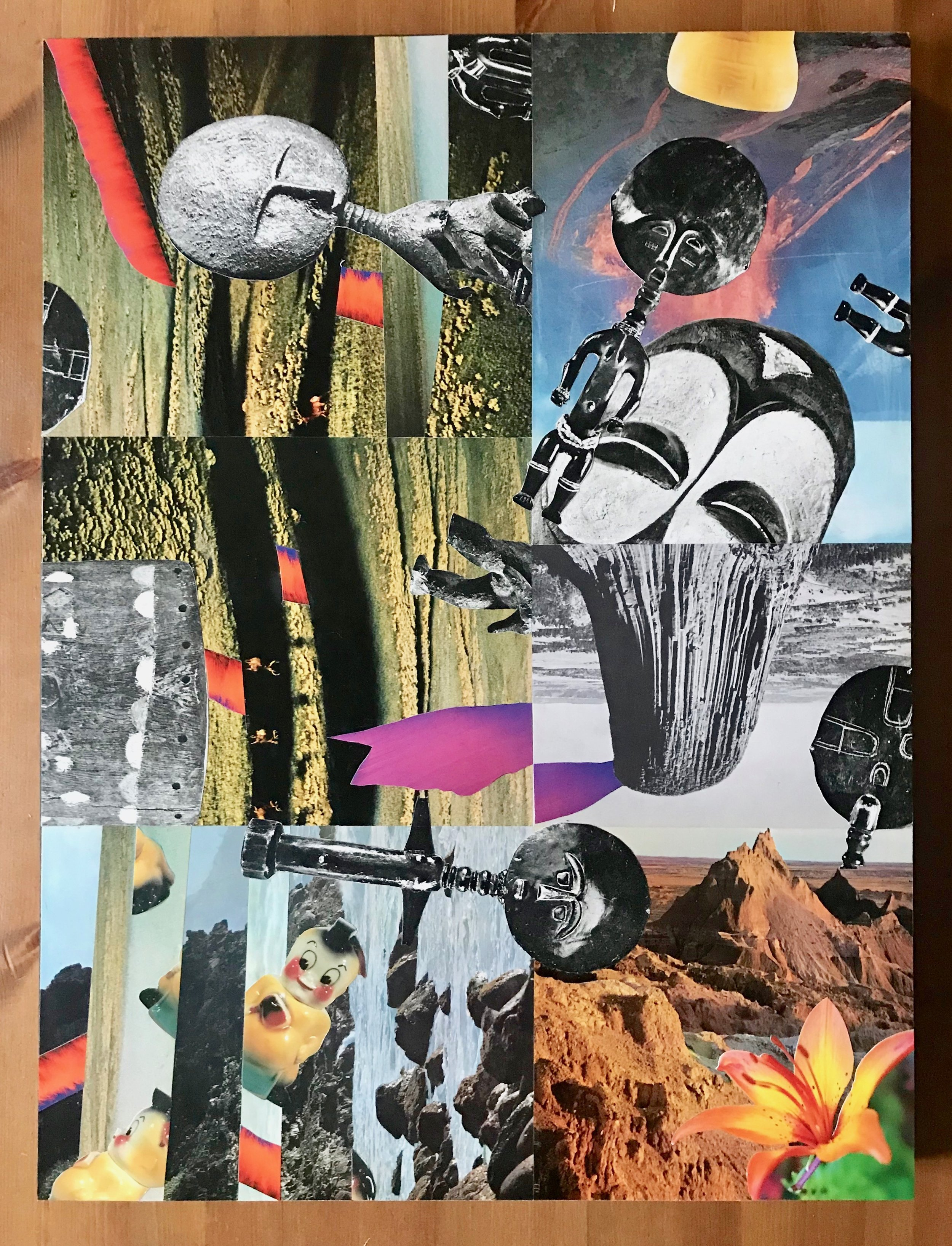 "Collage (Drift) 18"" x 14"" (on wood) 2018"