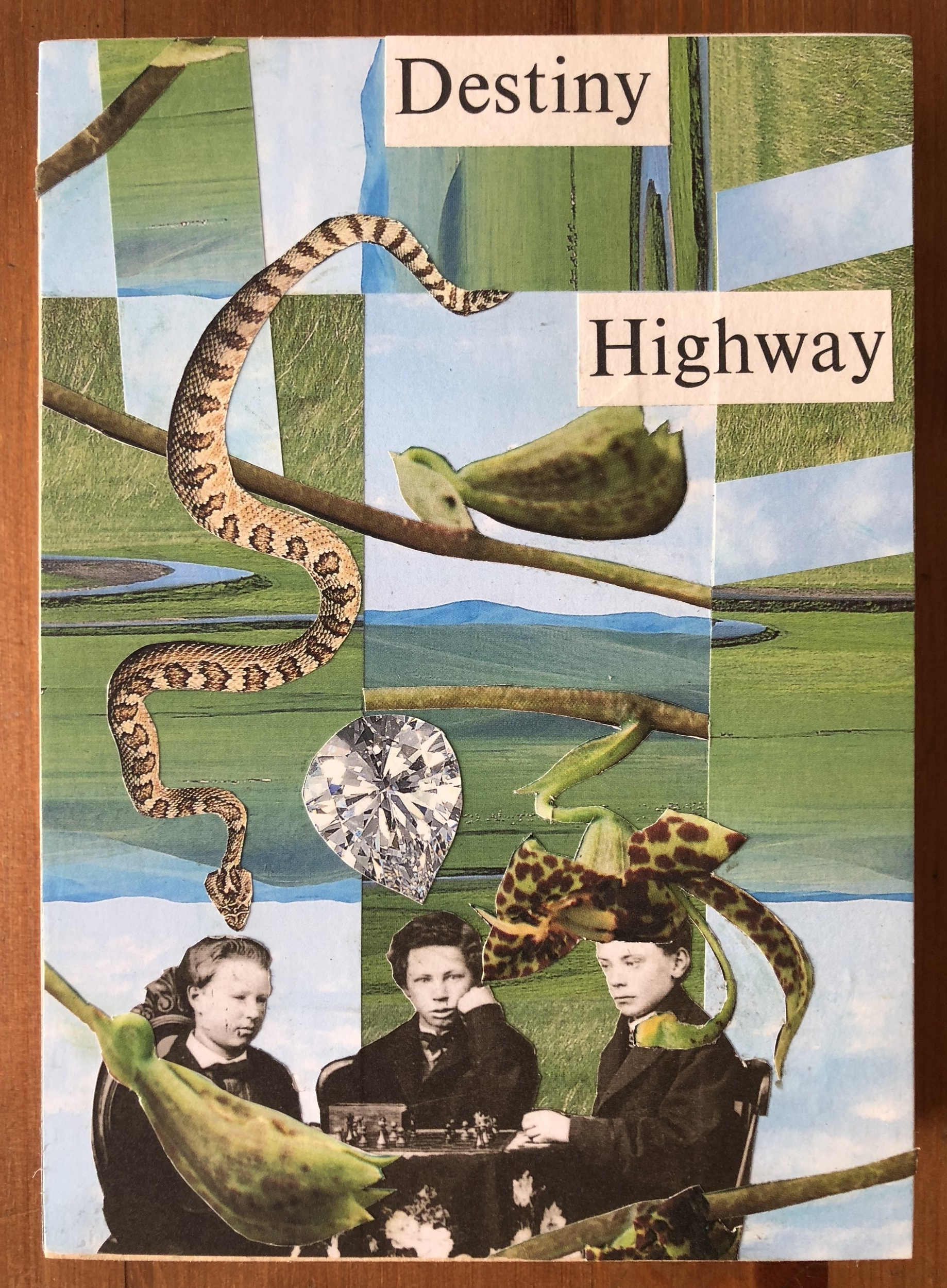 "Collage (Destiny Highway) 8"" x 5"" (on wood) 2018"