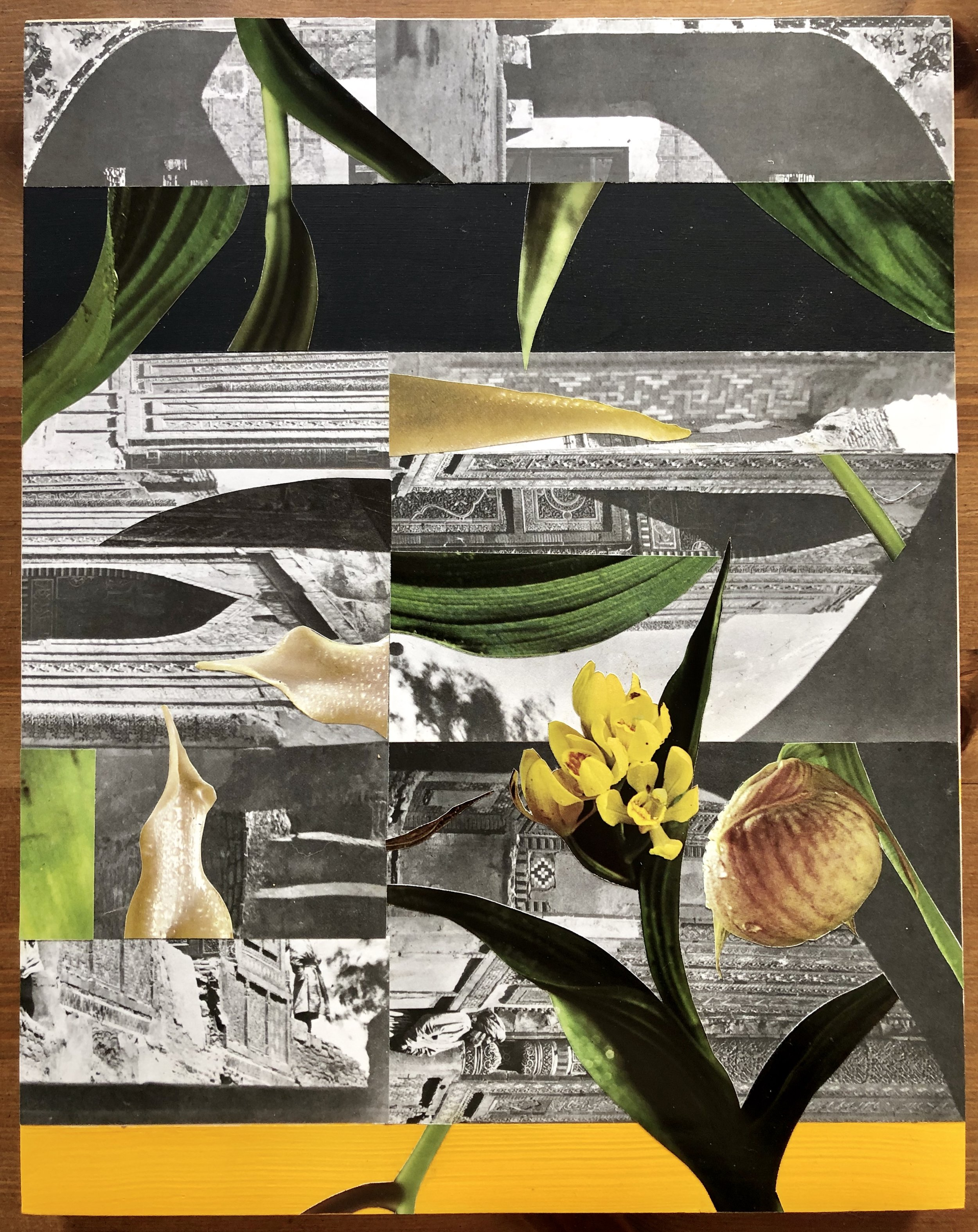 "Collage (Alcove) 11"" x 14"" (on wood with acrylic paint) 2019"