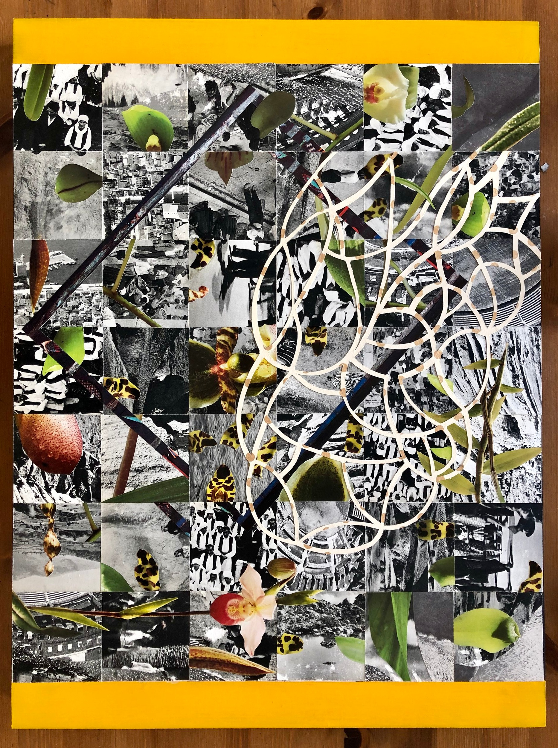 "Collage (Wildflower) 18"" x 24"" (on wood with acrylic paint) 2019"