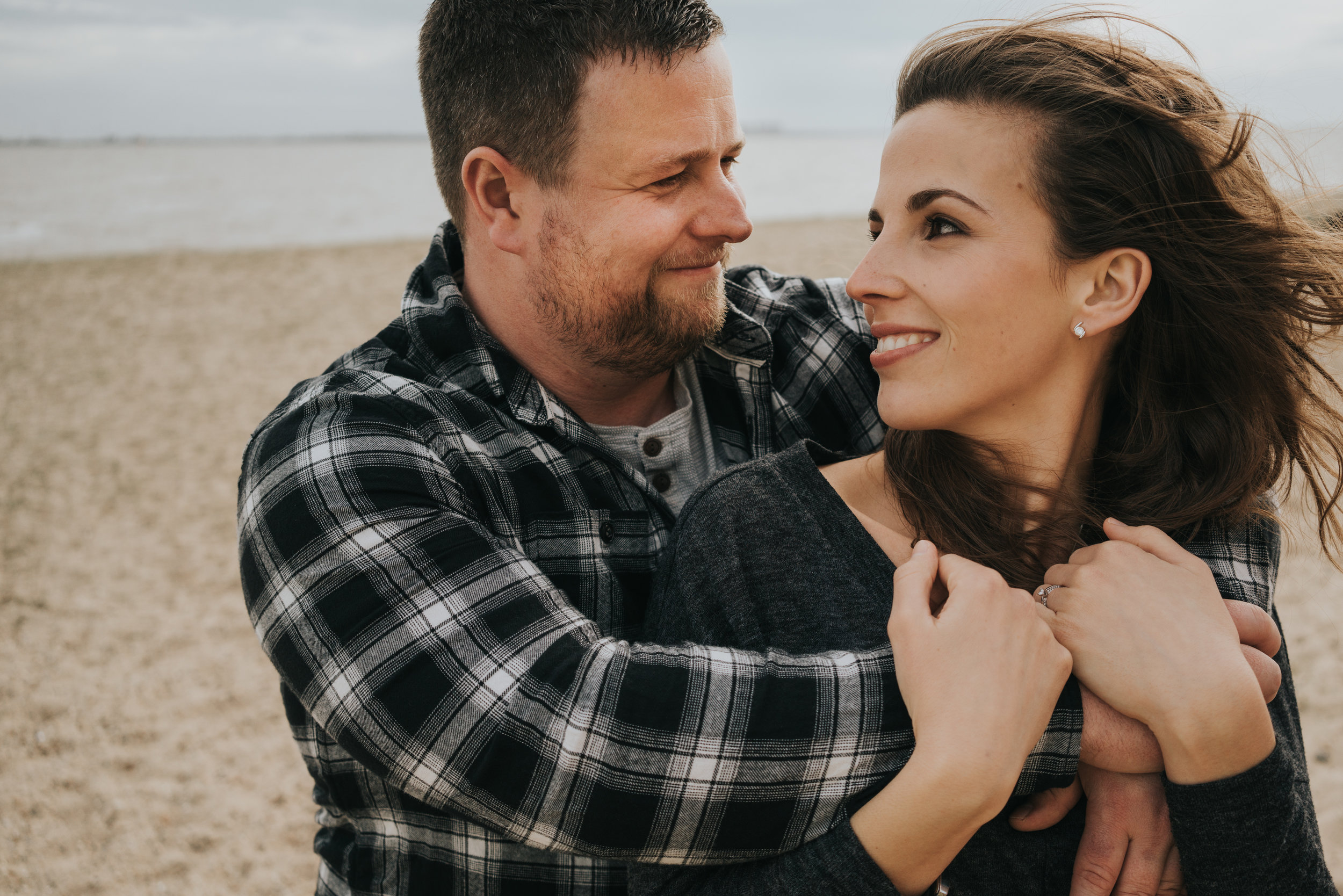 Anna and Darren's beach engagement session, Mersea, Essex.