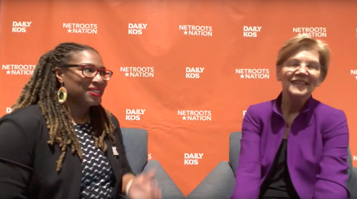 Senator Elizabeth Warren talks with Daily Kos' Kelly Macias in New Orleans