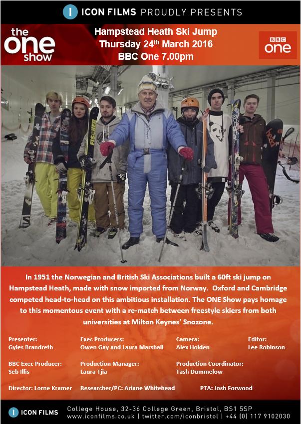 Gyles and Hampstead Heath Ski Club on The One Show, 2016