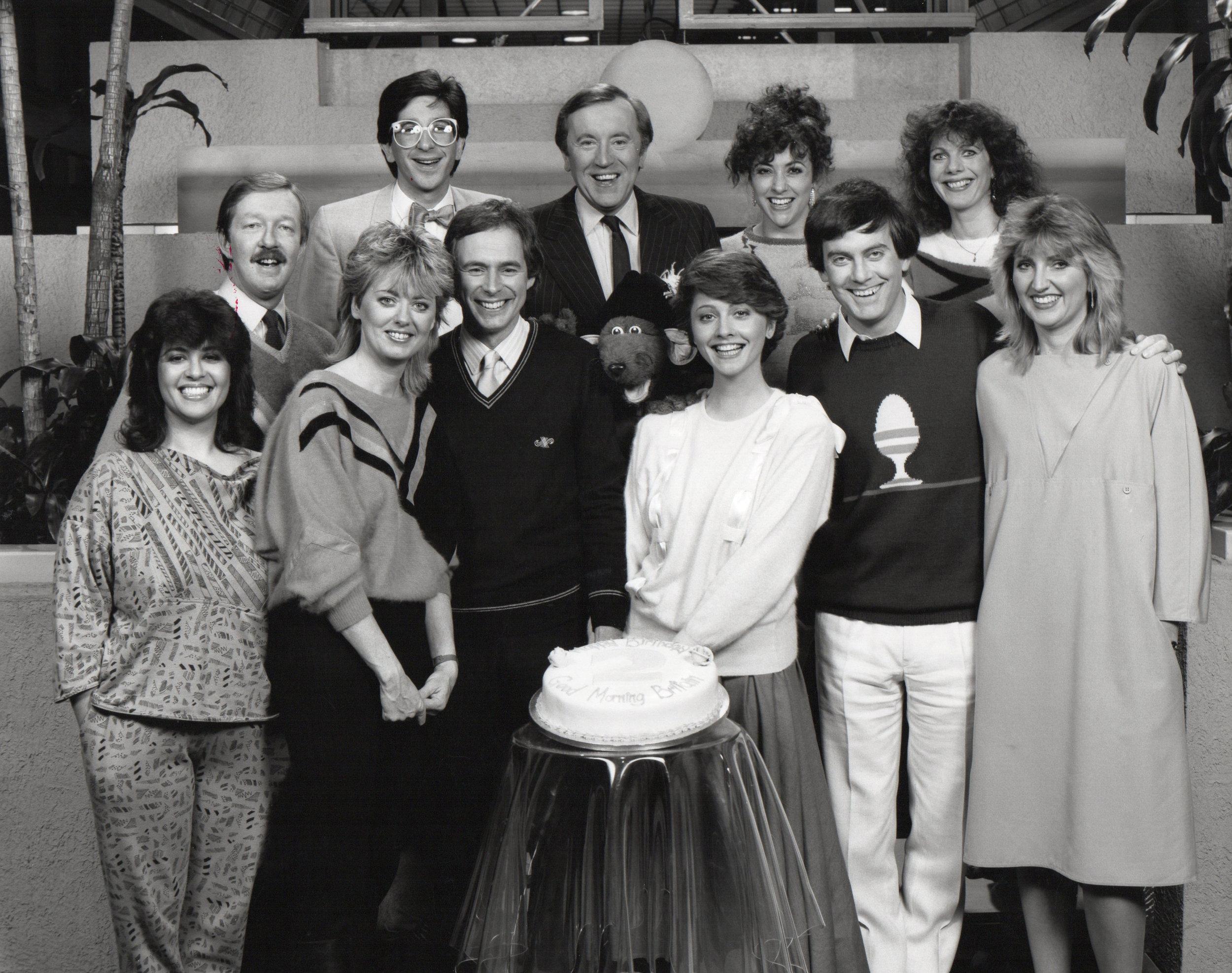 The TV-am team celebrates its second birthday, 1985