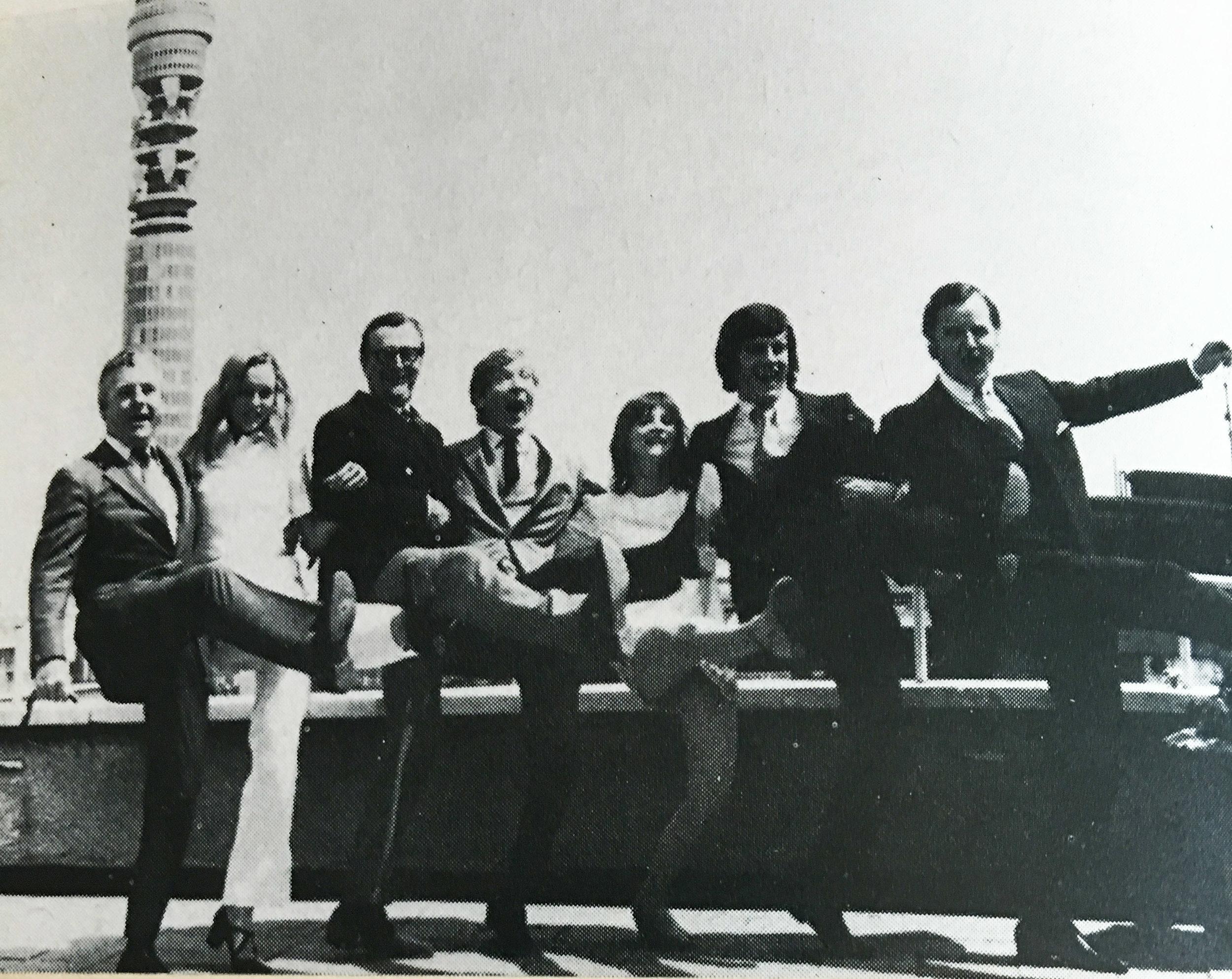 Kenneth More, Lisa Goddard, Cyril Fletcher, Kenneth Williams, Liz Gebhardt, Gyles Brandreth and Nicholas Parsons launching BBC Radio 4's summer season in 1971