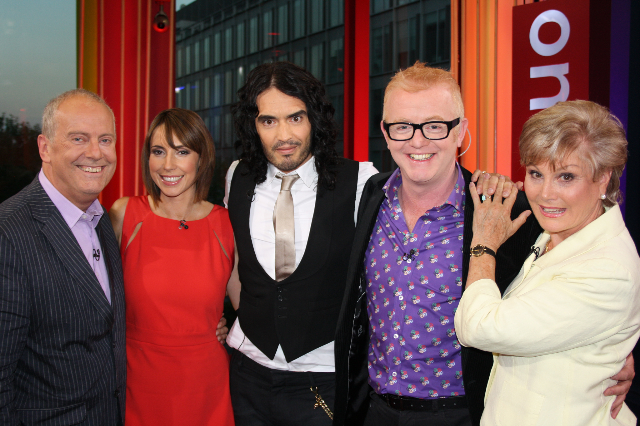 Gyles with Russell Brand, Alex Jones, Chris Evans and Angela Rippon on The One Show, April 2011