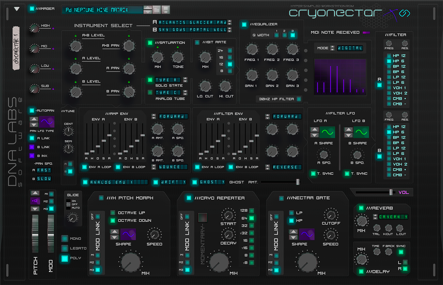 CRYONECTAR X HYPER SAMPLED WORKSTATION     Cryonectar is a hyper-sampled wave based synthesizer/rompler with creative new effects such as the x pitch morph, cryo repeater, and nectar gate which promise to surprise the end user with creative new ways of sound modulation.  Status: Currently In the Mockup creation stage. Colors may be changed. Knobs may be added or moved. Features may be added or removed.