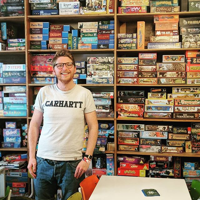 Even on holiday, @cakesandladders hunt down the board games! 🎲😅 Thanks to @spielwiese_berlin for a great gaming session as always - it was when we first discovered these guys almost 10 years ago that the inspiration for Cakes and Ladders was born! 💡☕🍰🃏 #cakesandladdersontour #cakesandladderscafe #cakesandladdersldn #cakesandladderslondon #boardgamegeek #boardgame #boardgamegeeks #boardgames #boardgamesofinstagram #tabletopgames #tabletopgaming #berlin #inspirational