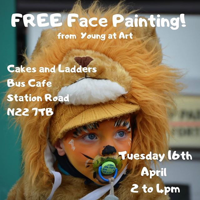 Free face painting @cakesandladders bus café today courtesy of @youngatart_uk - check out their programme of Easter activities for all sorts of arts and crafts! 🎨🖌️👩🎨 #cakesandladders #cakesandladderscafe #cakesandladdersldn #cakesandladderslondon  #secretlondon #london🇬🇧 #london #londonist #londoner #london_enthusiast #londonlife #woodgreen #hornsey #turnpikelane #palmersgreen #northlondon #greenlanes #cafe #boardgamecafe #allypally #crouchend #muswellhill #finsbury #easterholidays #easteractivities #kidsactivities
