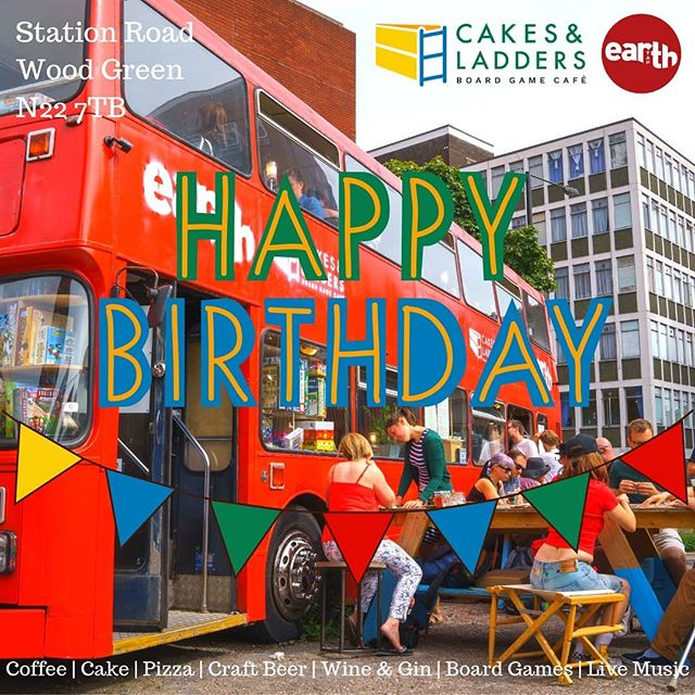 @cakesandladders and @earth_tap1 are turning 1 this summer! Come and join us on Saturday 6th July for an all day party with live music, DJs, coffee, cake, pizza, craft beer and of course board games! All aboard the big red bus in Wood Green! 🎸🎷☕🎂🍕🍻🎲 #cakesandladders #cakesandladderscafe #cakesandladderslondon #boardgamegeek #boardgame #boardgamegeeks #boardgames #boardgamesofinstagram #secretlondon #london🇬🇧 #london #londonist #londoner #london_enthusiast #londonlife #woodgreen #hornsey #turnpikelane #palmersgreen #northlondon #greenlanes #cafe #boardgamecafe #allypally #crouchend #muswellhill #finsburypark