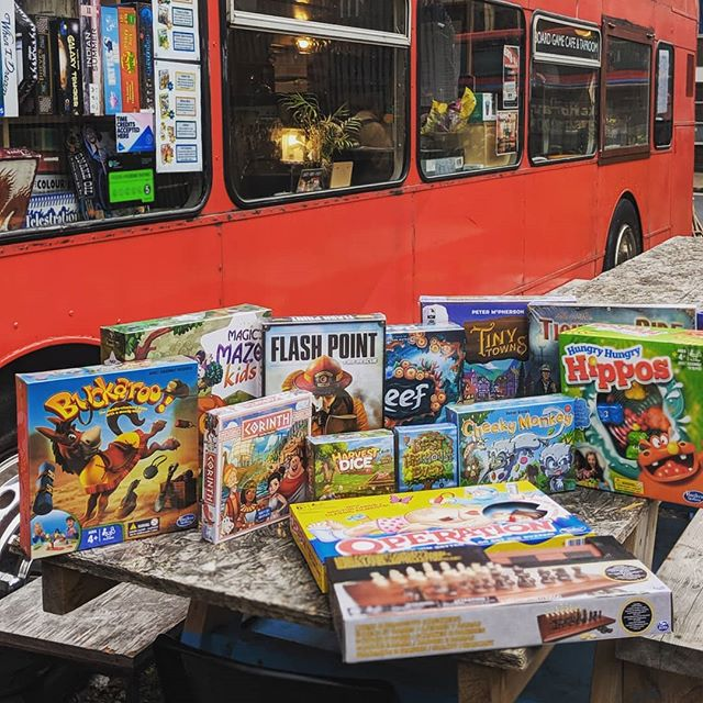 It may be raining outside, but it's nice and cosy on the bus! And this delivery of exciting games for our ever growing board games library from @asmodeeuk has certainly brightened our day 😁🃏🎲 Come and play as many games as you want for as long as you like for only £3 per person - book ahead on info@cakesandladders.co.uk  #boardgamegeek #boardgamesofinstagram #newgames #rainraingoaway #corinth #besttreehouseever #harvestdice #ttruk #flashpoint #tinytowns #london🇬🇧 #london #londonist #londoner #london_enthusiast #londonlife #woodgreen #hornsey #turnpikelane #palmersgreen #northlondon #greenlanes #cafe #boardgamecafe #allypally #crouchend #muswellhill #finsbury #boardgameaddict