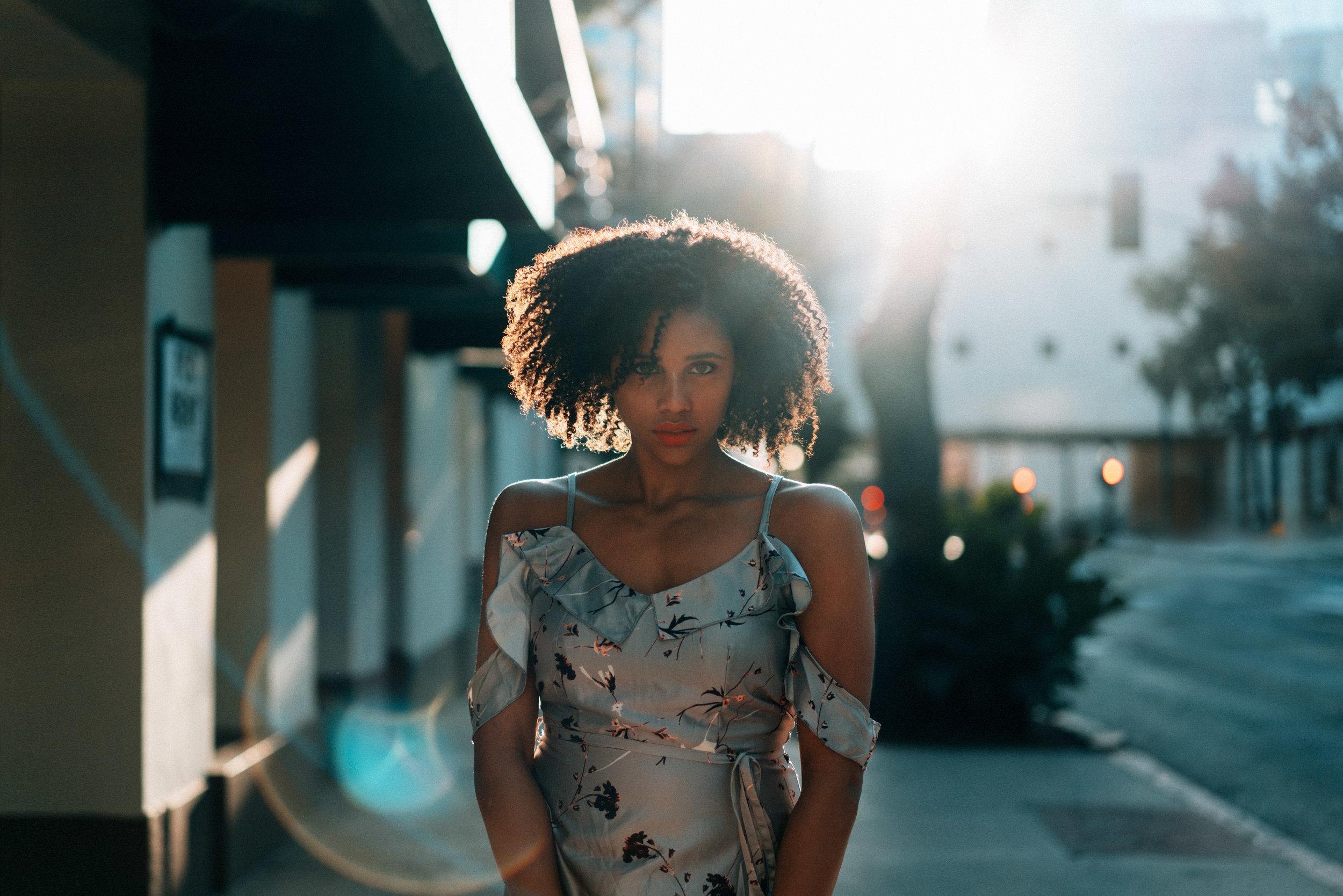 Model Portrait, Sonne, Sun, Street, Sunflare