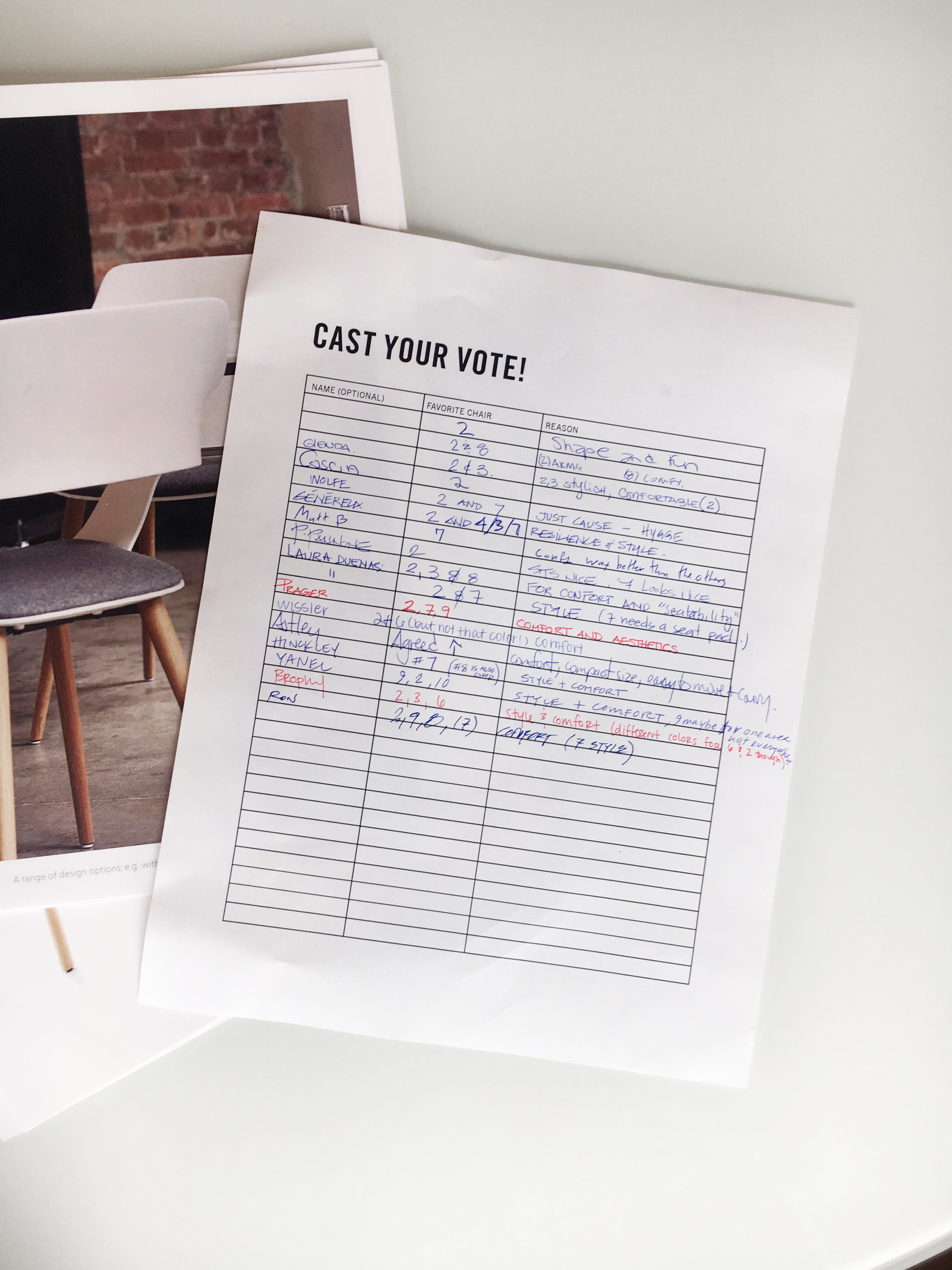Voting forms to choose seating