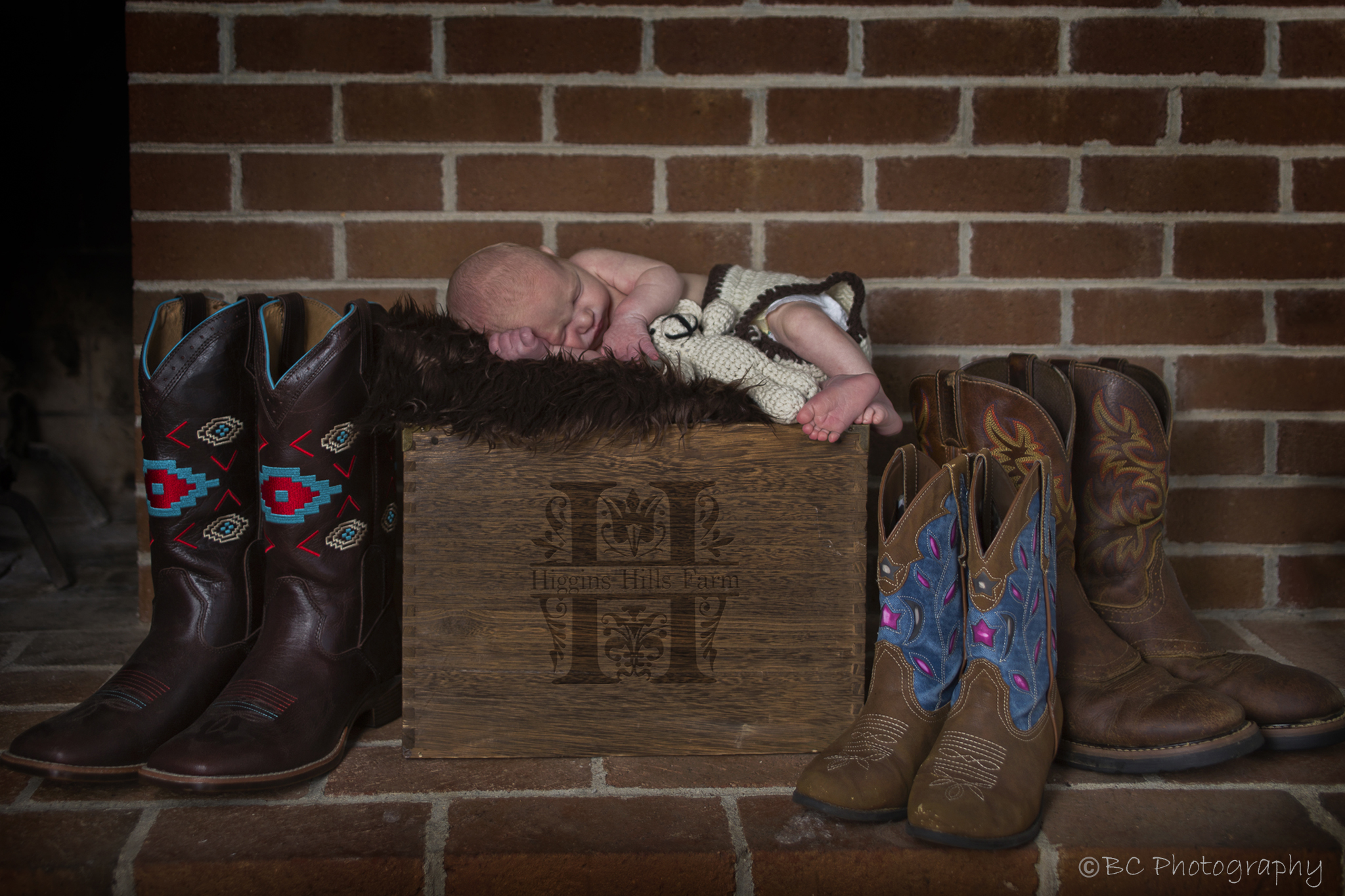 Maverick resting peacefully next to his family's boots.