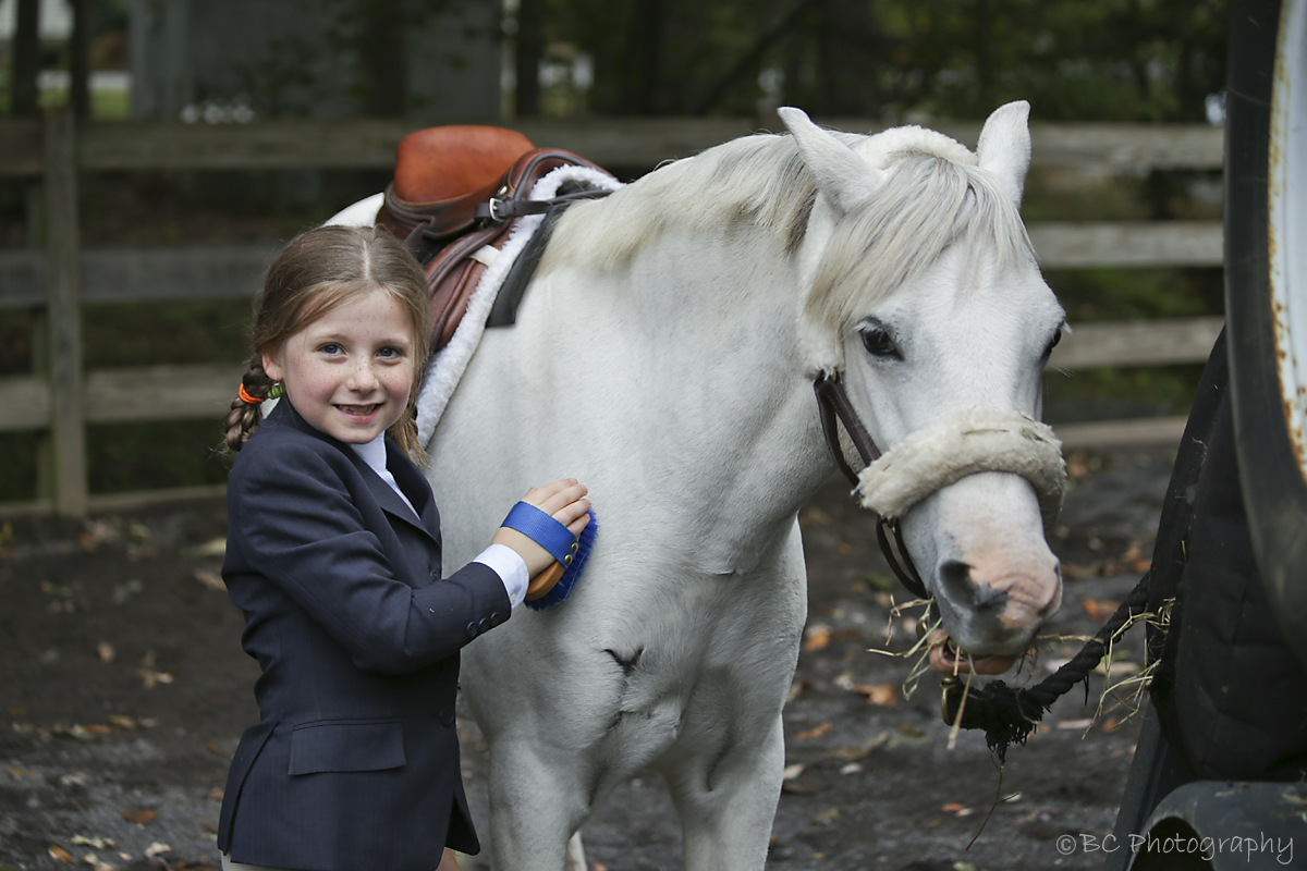 Young rider brushing her horse to prepare for the show