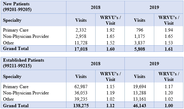 Alta Partners Average Summary of Weighted Average of WRVU's per Visits for New and Established Patients For the Years Ending in 2018 and 2019