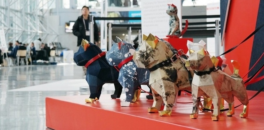Upcycled Denim Dog installation by graphic artist Heemin Moon.