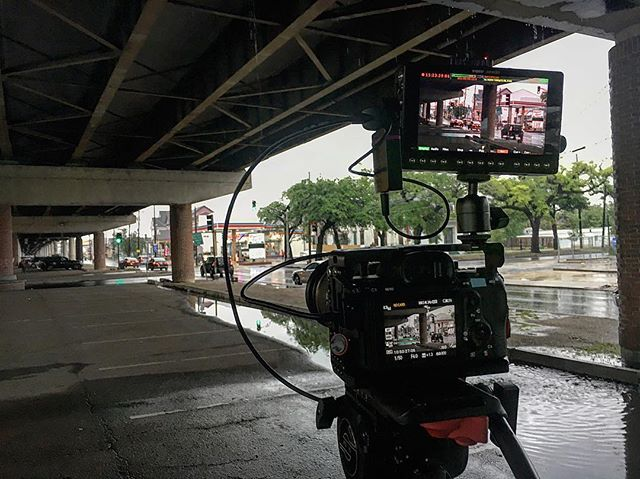 When shooting in the rain, it's always advisable to get your under overpass shots in the can.