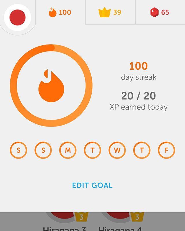 100 day streak in Japanese!