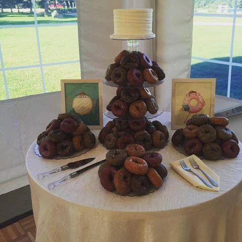 Groovy Donut Tower with Wedding Cake from Confectionately Yours .jpg