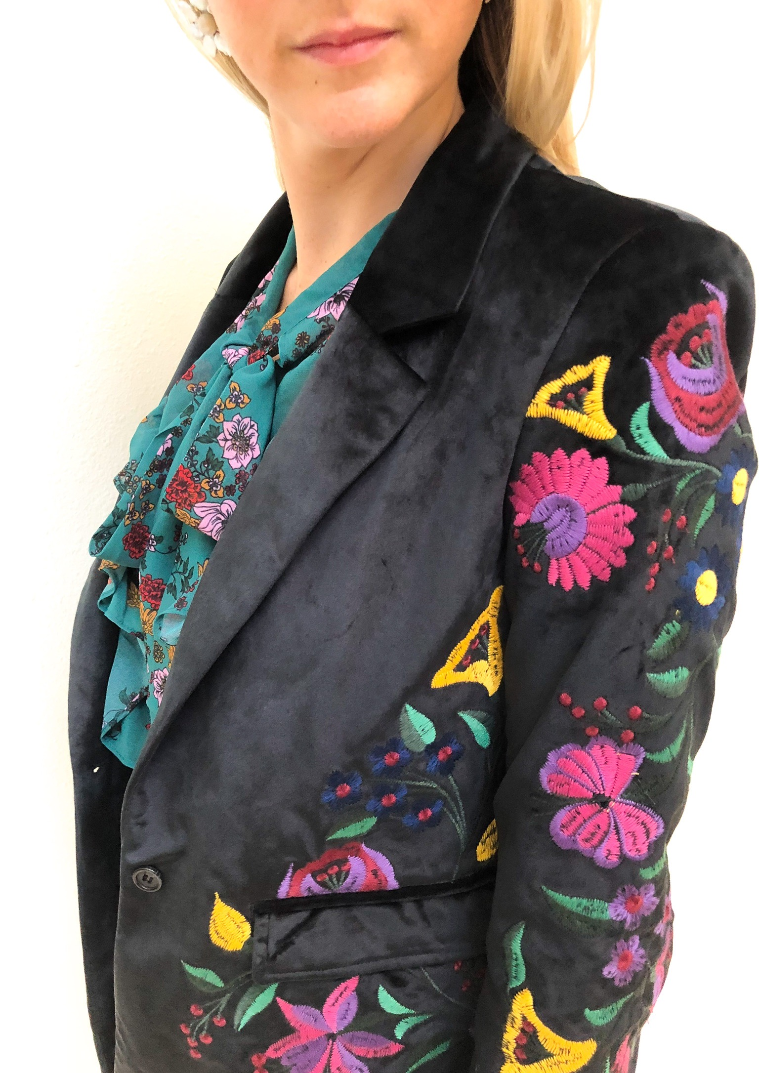 SecondLook: - Second Look: Plush velvets and furs are having a big moment this season. Add this embroidered blazer to your ensemble for unexpected texture.