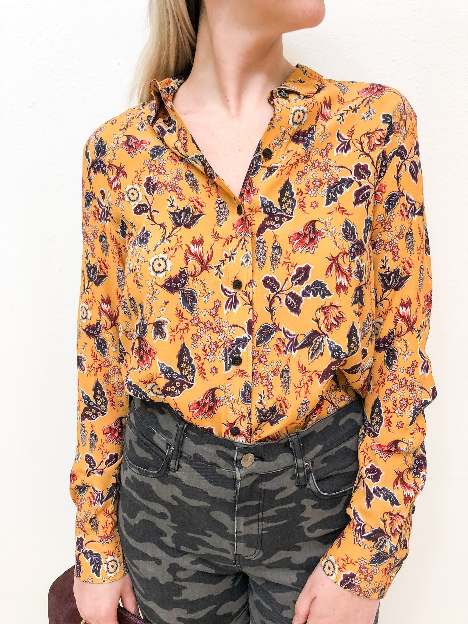 Third Look: - Third Look: Vintage inspired everything is a huge player this season. This marigold and fall foliage print is like autumn in a blouse.