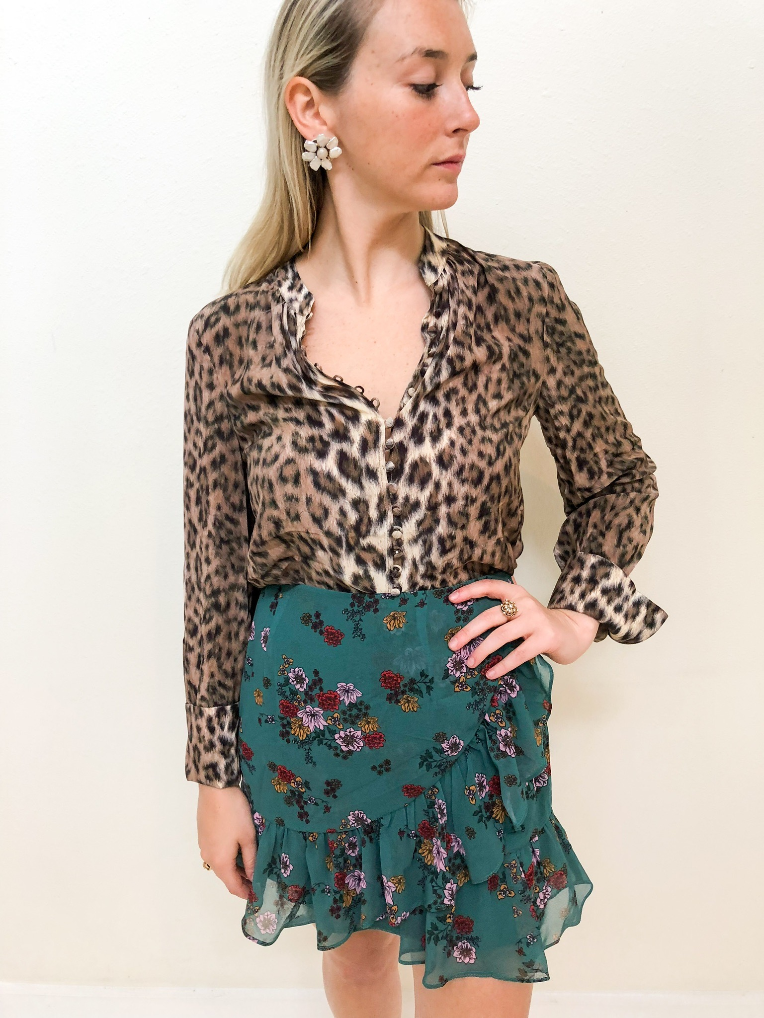 Fourth Look: - Fourth Look:Animal print is a classic fall staple. Mix to perfection with this floral ruffle mini for a match made in heaven.