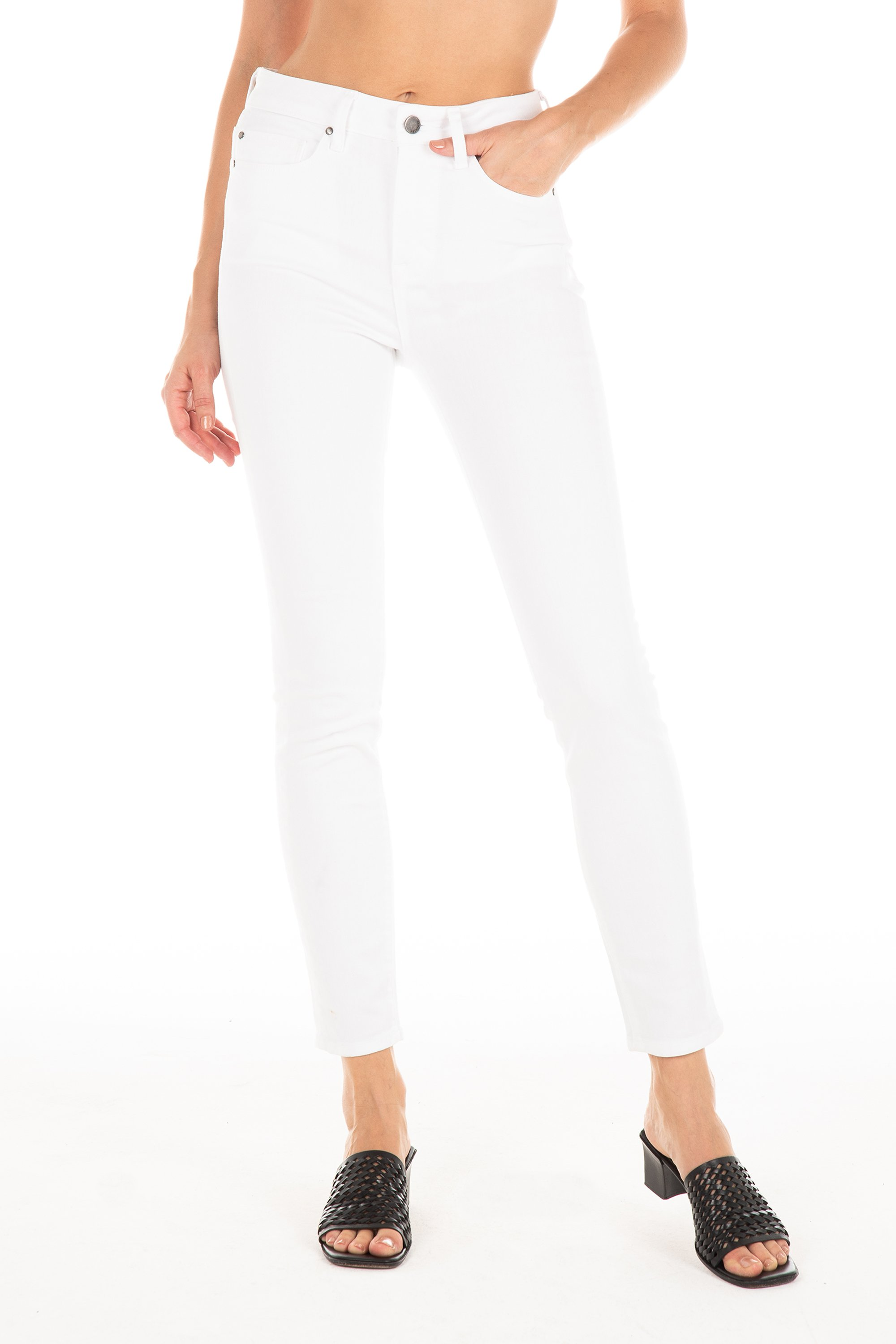 White Jeans - Fidelity high-rise white jeans just in time for the warmer months. Brand new Karma Twill fabric is ultra-soft, ultra-comfy and hugs your figure without bagging out. Handcrafted in Los Angeles.