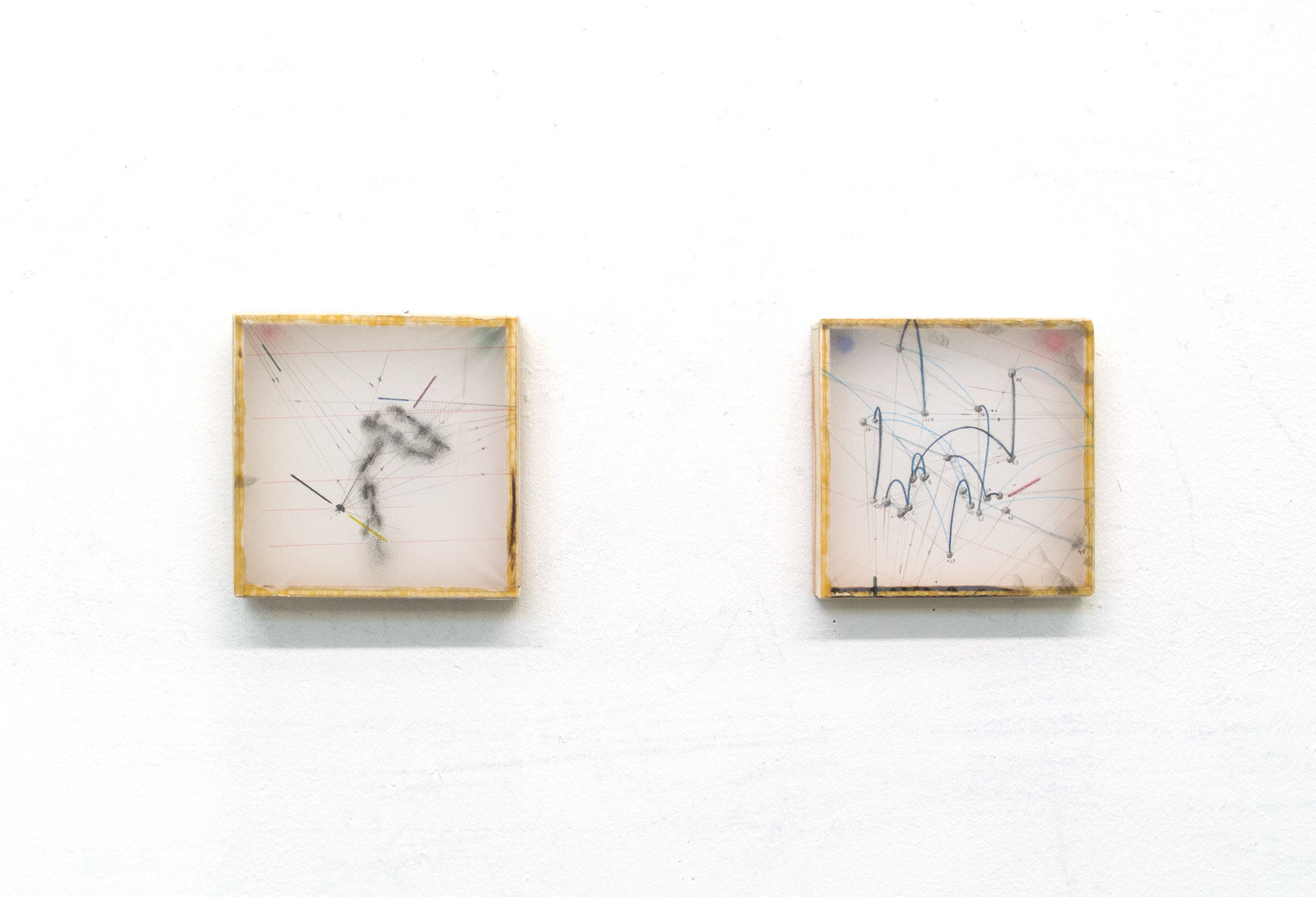 "B5.1.1P-2P [trajectory positives]  (2018) 4.5"" x 4.5"" x 0.8"" each, graphite and colored pencil on tracing paper stretched on wood frame"