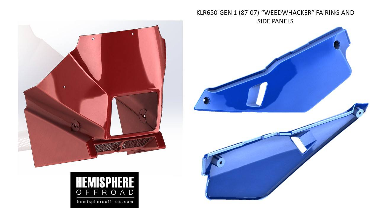 "Our next plastic product for the KLR650 is the Gen 1 (87-07) side panels. We are starting tooling for this now. Next up will be the ""Weedwhacker"" frotn fairing + aluminum dashboard kit."