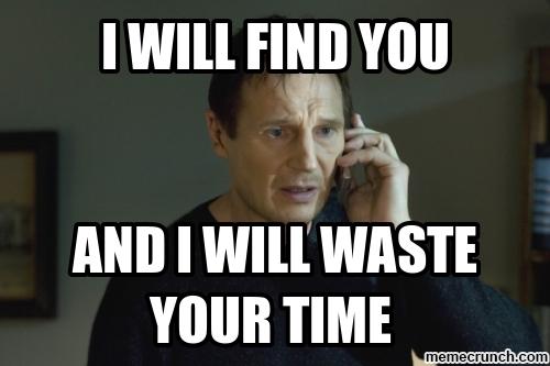 Liam Neeson loves widget machine meetings