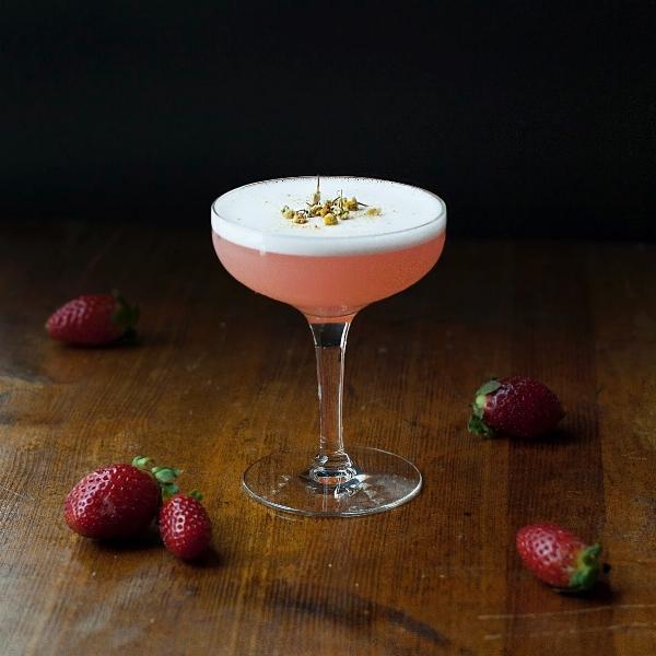 Strawberry Basil Gin Sour